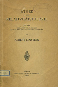 Ether and the Theory of Relativity Image source: Julius Springer