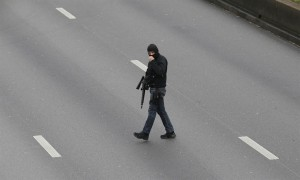 French policeman crossing street