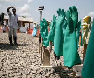 Washed Ebola gloves drying