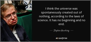 Hawking quote re universe